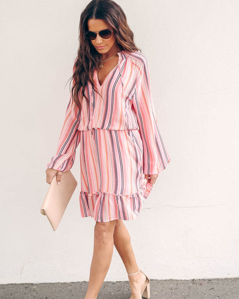 Shoshanna Striped Long Sleeve Ruffle Dress