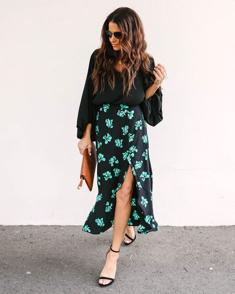 Watch Me Bloom Ruffle Midi Skirt - FINAL SALE