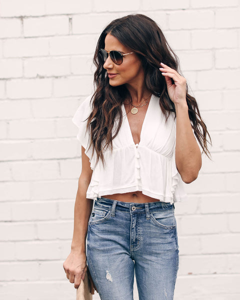 Scottsdale Flutter Crop Top - Off White