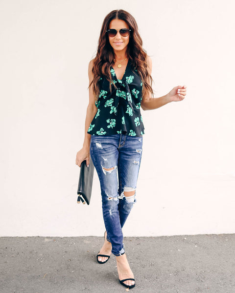 Watch Me Bloom Peplum Tie Top - FINAL SALE