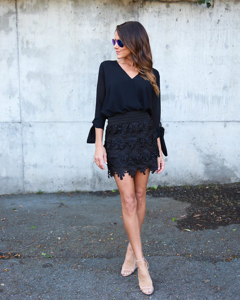 Venus Crochet Skirt - Black