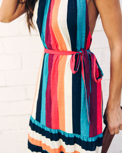 Mariachi Striped Halter Maxi Dress - FINAL SALE