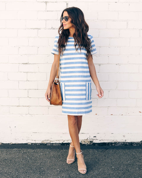 Easy Breezy Striped Pocketed Shift Dress