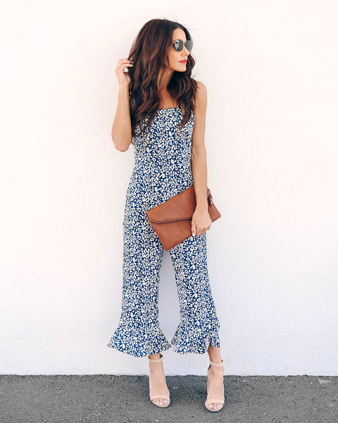 Wild Blue Yonder Pocketed Jumpsuit