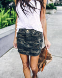 Camo Cut Off Cotton Skirt