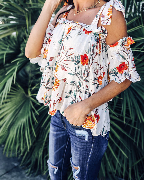 Always There For Me Floral Eyelet Top - White