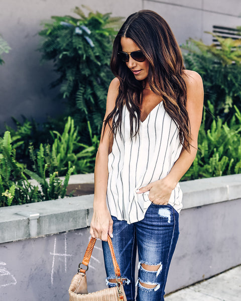 Kingdom Striped Cotton Tie Tank