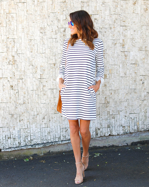 Darling Dear Pocketed Striped Cotton Dress