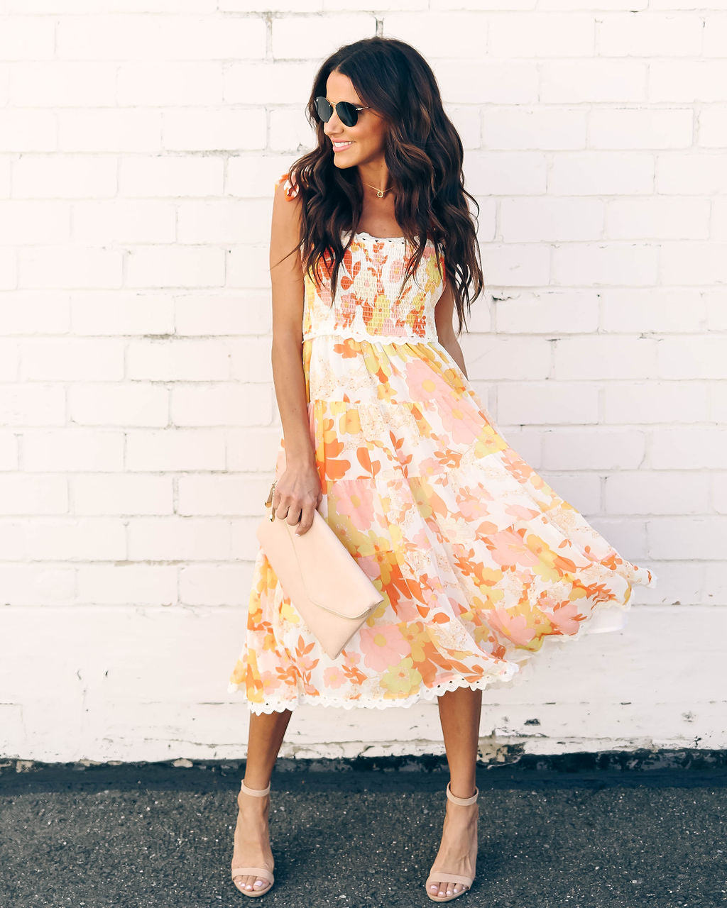 8c07156c0 Sunny Honey Floral Smocked Midi Dress – VICI