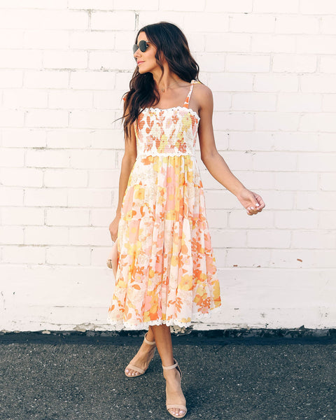 Sunny Honey Floral Smocked Midi Dress