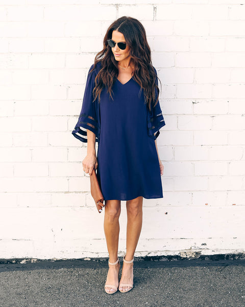 Dress Blues Bell Sleeve Shift Dress
