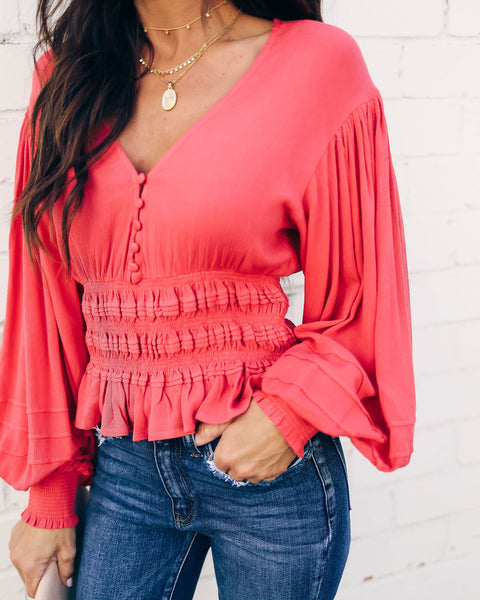 Barcelona Smocked Balloon Sleeve Blouse - Coral - FINAL SALE