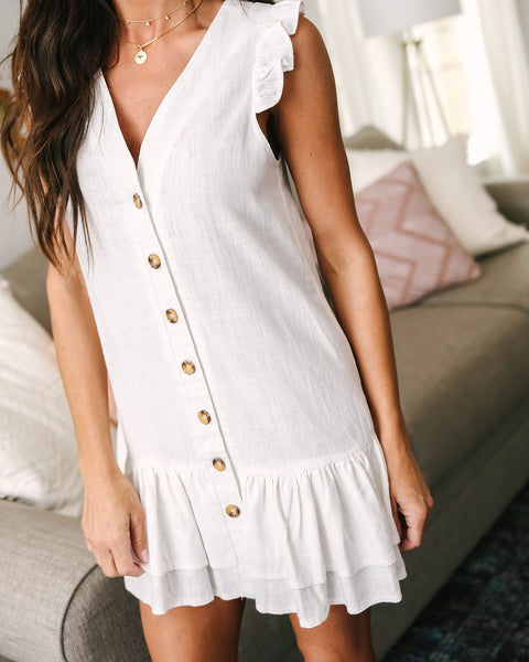 Picket Fences Button Down Ruffle Dress