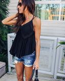 Dream Gaze Crochet Tank - Black - FINAL SALE