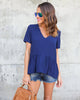 Charlotte Peplum Blouse - Navy - FINAL SALE