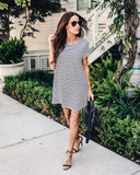 Country Cottage Striped Cotton Dress - Black