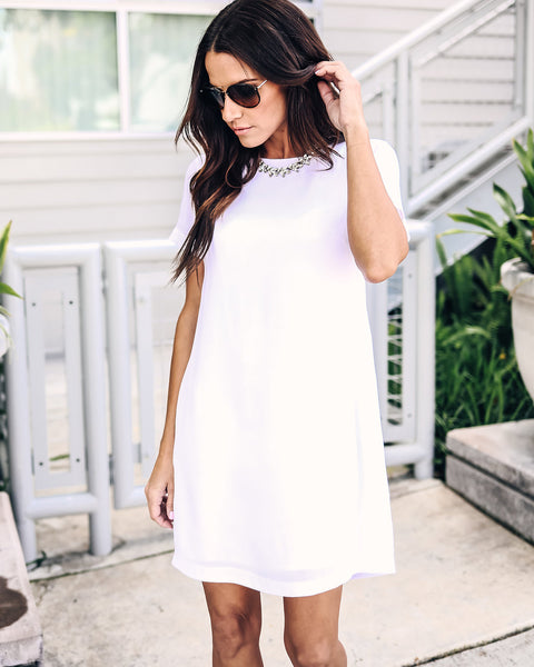Making Moves Shift Dress - White