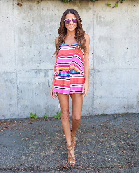 Live Colorfully Striped Romper