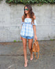Southern Charm Checkered Top - Powder Blue - FINAL SALE
