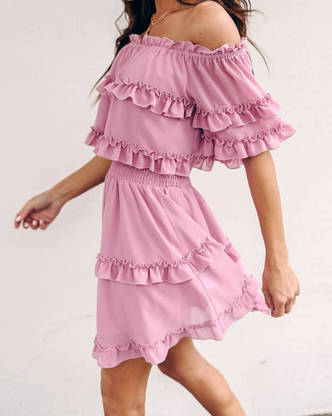 Ballet Slippers Off The Shoulder Ruffle Dress