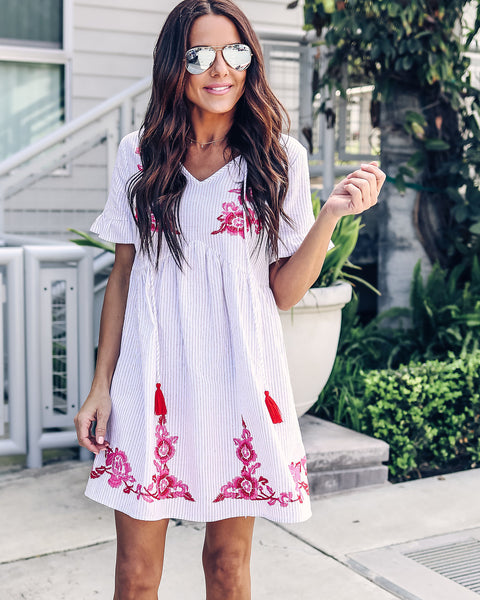 PREORDER - Tickled Pink Cotton Embroidered Dress