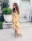 Calico Rose Floral Maxi Dress - Yellow