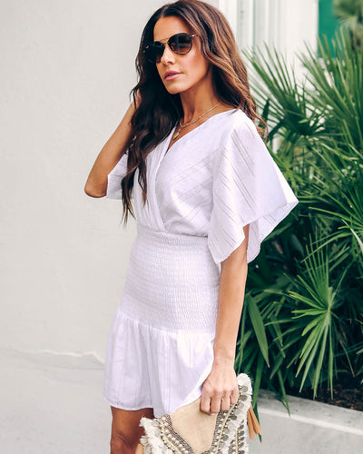 Bailando Cotton Smocked Dress - White - FINAL SALE