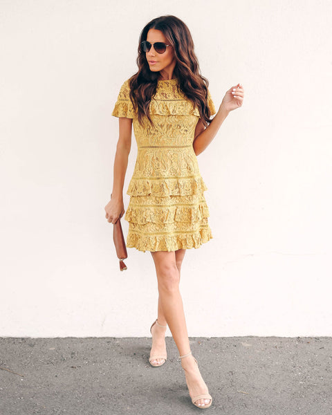Marigold Tiered Lace Dress