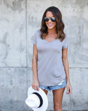 Venice V-Neck Tee - Light Grey