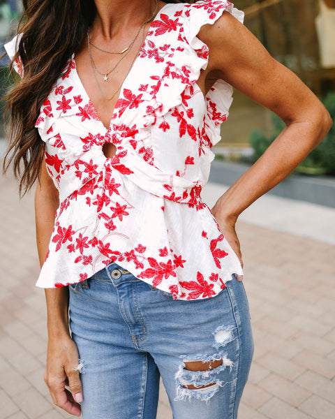 Floral By Nature Cotton Blend Embroidered Top - Red