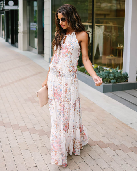 On The Prairie Floral Tiered Maxi Dress - Natural