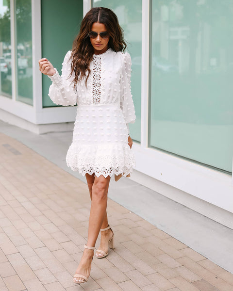Britain Long Sleeve Crochet Statement Dress