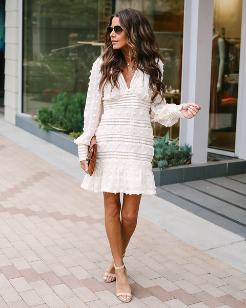 Trinity Cream V-Neck Crochet Dress