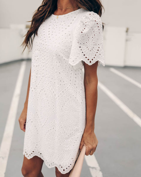 Frontier Eyelet Cotton Dress - White