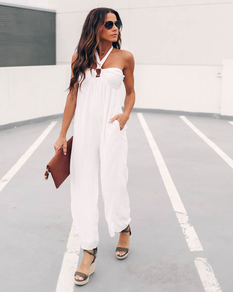 Ready For My Honeymoon Pocketed O Ring Jumpsuit - FINAL SALE