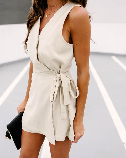 Walking On Eggshells Cotton Wrap Romper  - FINAL SALE