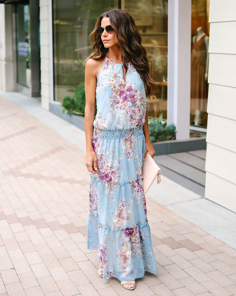 On The Prairie Floral Tiered Maxi Dress - Chambray - FINAL SALE