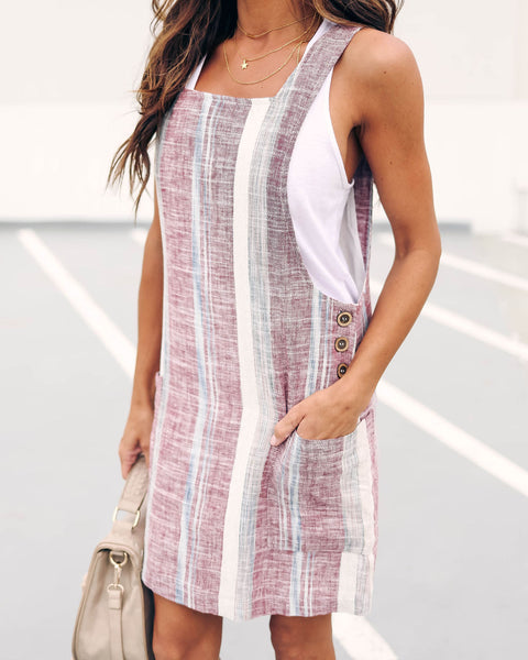 Beat The Heat Linen Pocketed Overall Dress - Berry - FINAL SALE