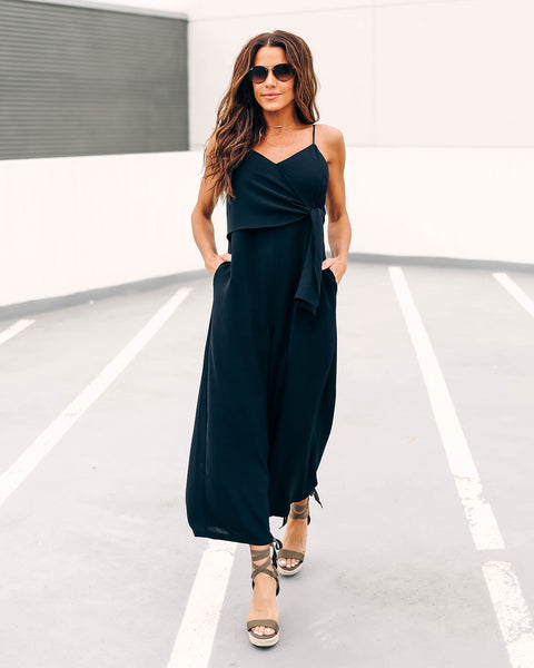 Black Sandy Beaches Pocketed Tie Jumpsuit