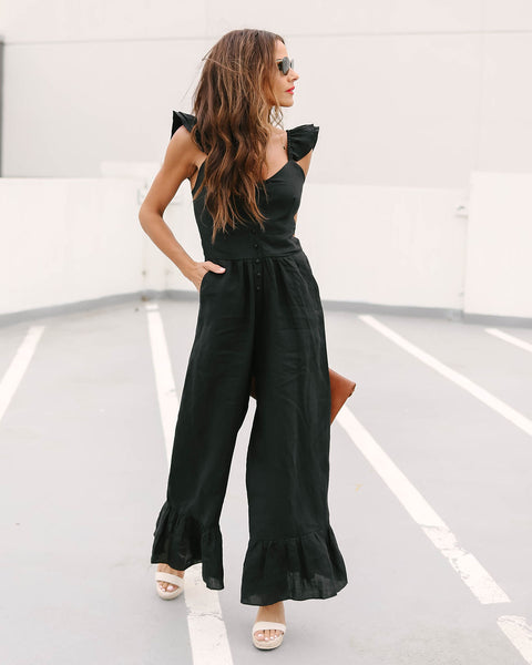 Bel Air Linen Blend Pocketed Jumpsuit - Black