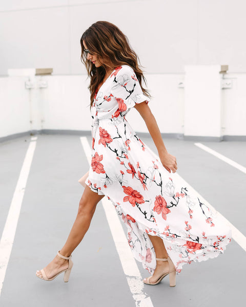 Roxanne Floral Tie Front High Low Maxi Dress
