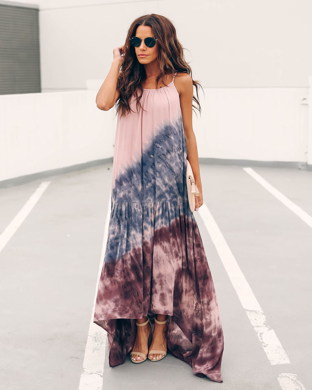 64b0356485ec Cadence Tiered Tie Dye High Low Maxi Dress - Pink/ Navy – VICI