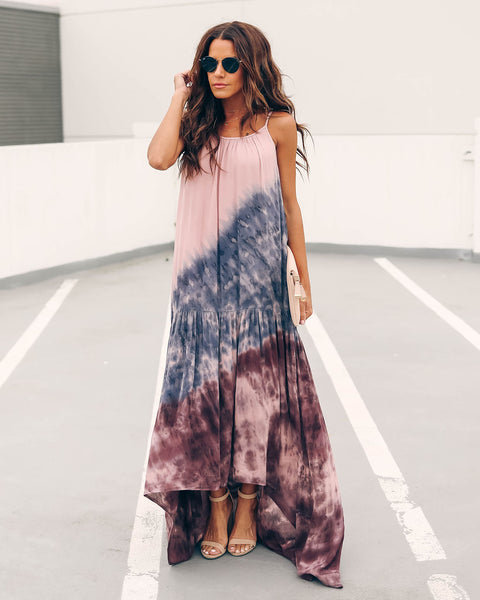 Cadence Tiered Tie Dye High Low Maxi Dress