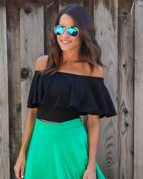 Tabi Off The Shoulder Ruffle Top - Black