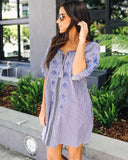Summer Picnic Cotton Pocketed Dress - Blue