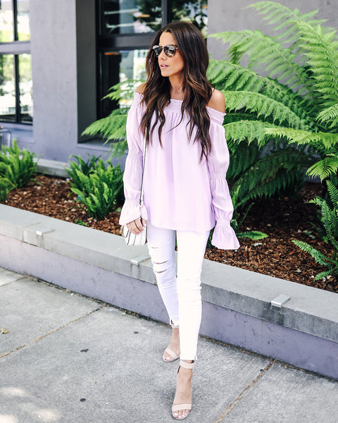 Rapunzel Off The Shoulder Blouse - Lavender - FINAL SALE
