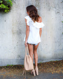 One Sided Ruffle Top - Off White - FLASH SALE