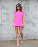 Signature Short Sleeve Blouse - Neon Pink - FLASH SALE