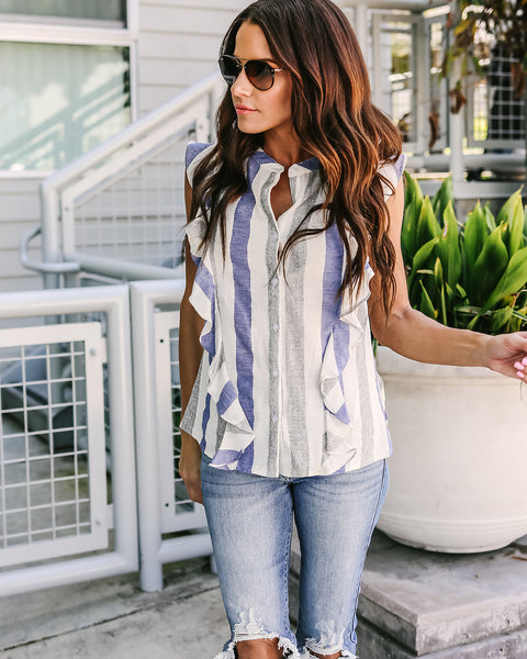 Catherine Cotton Button Down Ruffle Blouse