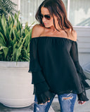 Devoted Tiered Off The Shoulder Top - Black